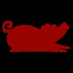Cerdo oreja hocico cola patrón de pezuña silueta detallada