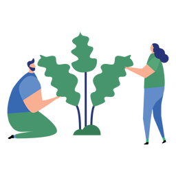 Planta hombre mujer arbol hoja plana