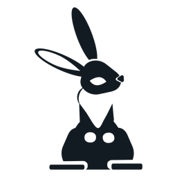 Rabbit bunny ear leg detailed silhouette