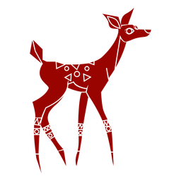 Roe doe hoof tail pattern detailed silhouette