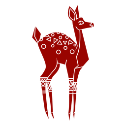 Roe doe tail hoof pattern detailed silhouette
