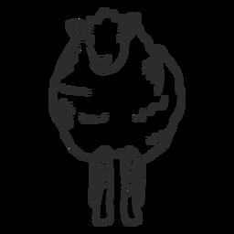 Doodle de lã de casco de orelha ovelha cordeiro