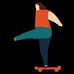 Exercício de skate skatista plana