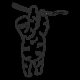 Doodle de garra de árvore de ramo de preguiça