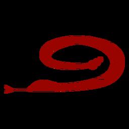 Langes verdrehendes Muster der Gabelzunge der Schlange führte Schattenbild einzeln auf