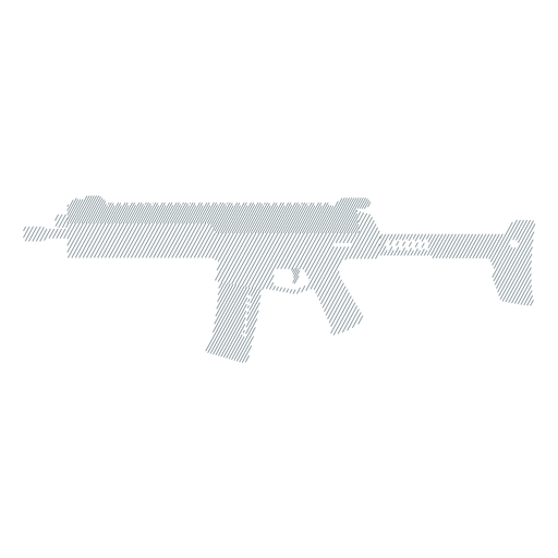 Submachine gun barrel charger weapon butt striped silhouette Transparent PNG