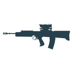 Submachine gun charger barrel weapon butt silhouette