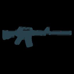 Submachine gun cargador butt arma barril supresor silueta