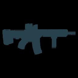 Submachine gun cargador arma barril trasero silueta