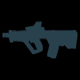 Submachine gun cargador arma butt barril silueta