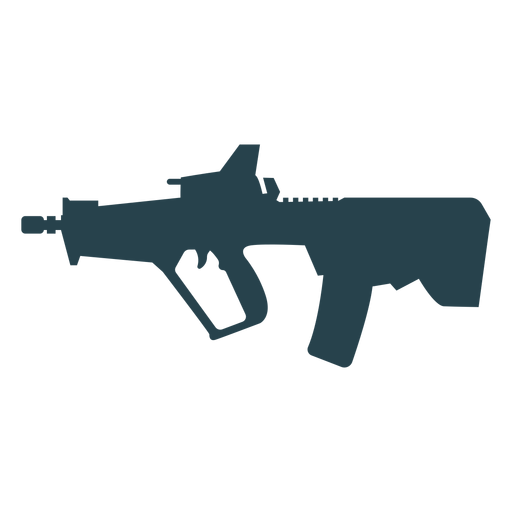 Submachine gun charger weapon butt barrel silhouette Transparent PNG