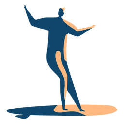 Surfer man surfboard posture detailed silhouette