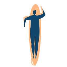 Surfer man surfboard swimming detailed silhouette