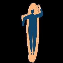 Surfista hombre tabla de surf natación silueta detallada