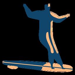 Silhueta detalhada do surfista surfboard homem postura