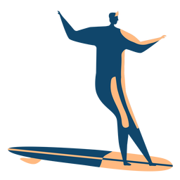 Surfer surfboard man posture detailed silhouette