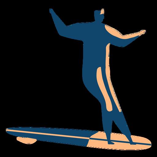 Surfer surfboard man posture detailed silhouette Transparent PNG