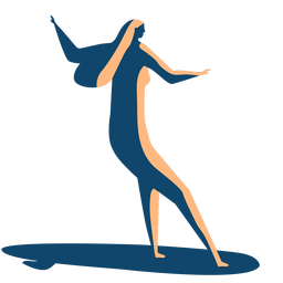 Surfer woman surfboard posture detailed silhouette