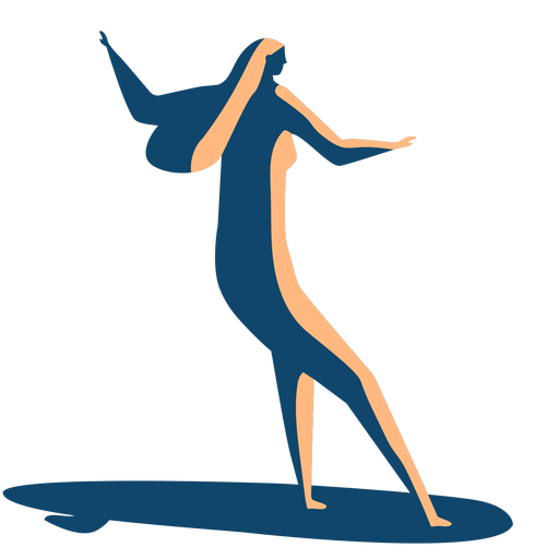 Surfer woman surfboard posture detailed silhouette Transparent PNG