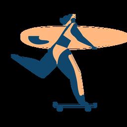 Silhueta detalhada de prancha de surf mulher surfista