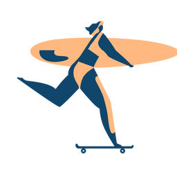 Surfista mujer surfboard patineta silueta detallada