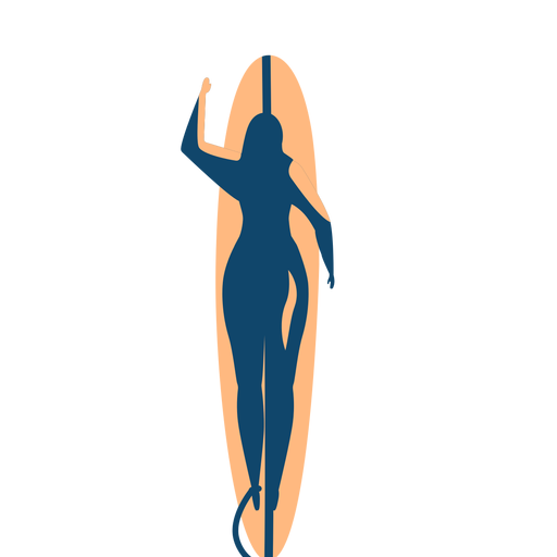 Surfer woman surfboard swimming detailed silhouette Transparent PNG