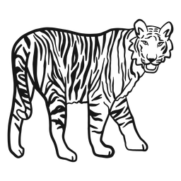 Tigre hocico raya oreja cola doodle