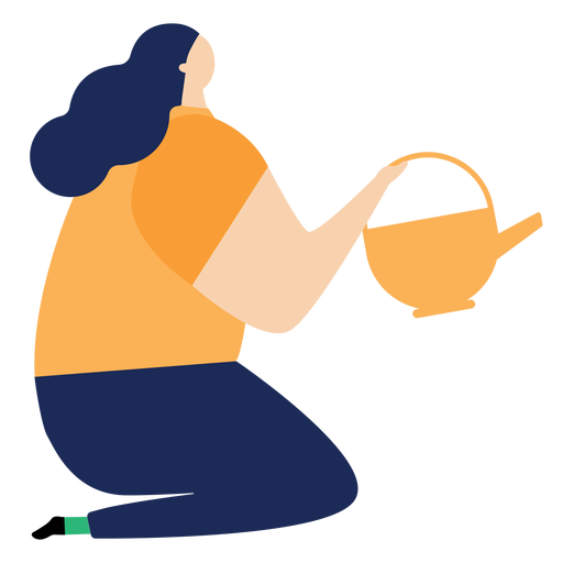 Watering can watering pot woman sitting flat Transparent PNG