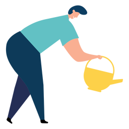 Watering pot watering can woman flat