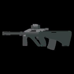 Arma culata cargador barril ametralladora plana