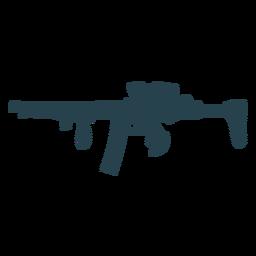 Arma ametralladora barril trasero cargador a rayas silueta