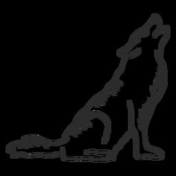 Doodle de cauda de predador de orelha de uivo de lobo