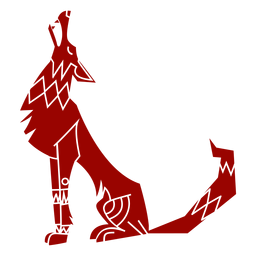 Silhueta detalhada do lobo uivo predador orelha padrão