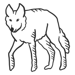 Doodle de cauda de orelha de predador de uivo de lobo