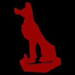 Lobo depredador cola patrón de oreja detallada silueta