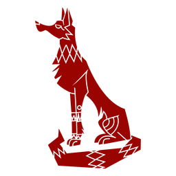 Silueta detallada de patrón de oreja de cola de depredador de lobo
