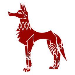 Silhueta detalhada de padrão de orelha de predador com cauda de lobo