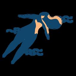 Mulher, natação, onda, detalhado, silueta