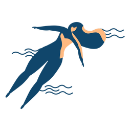 Woman swimming wave detailed silhouette