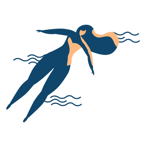 Woman swimming wave detailed silhouette Transparent PNG