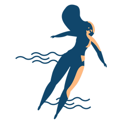 Mulher, natação, onda, óculos, detalhado, silueta