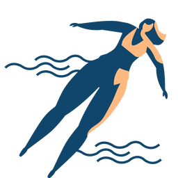 Woman wave swimming detailed silhouette