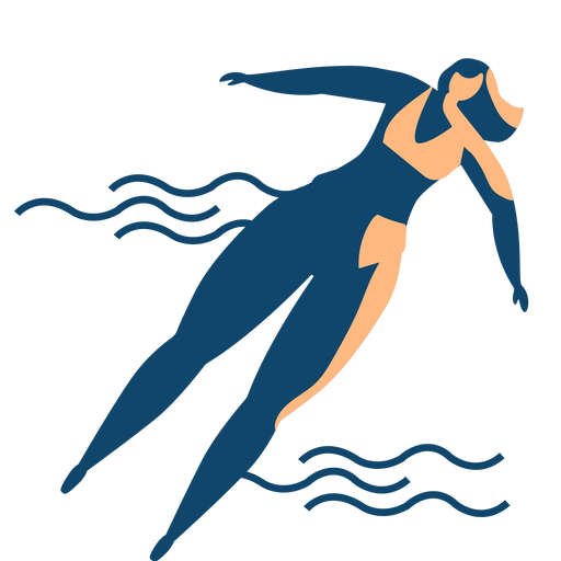 Woman wave swimming detailed silhouette Transparent PNG