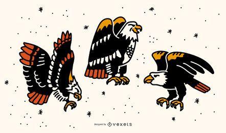 Conjunto de diseño de tatuaje Eagle Old School