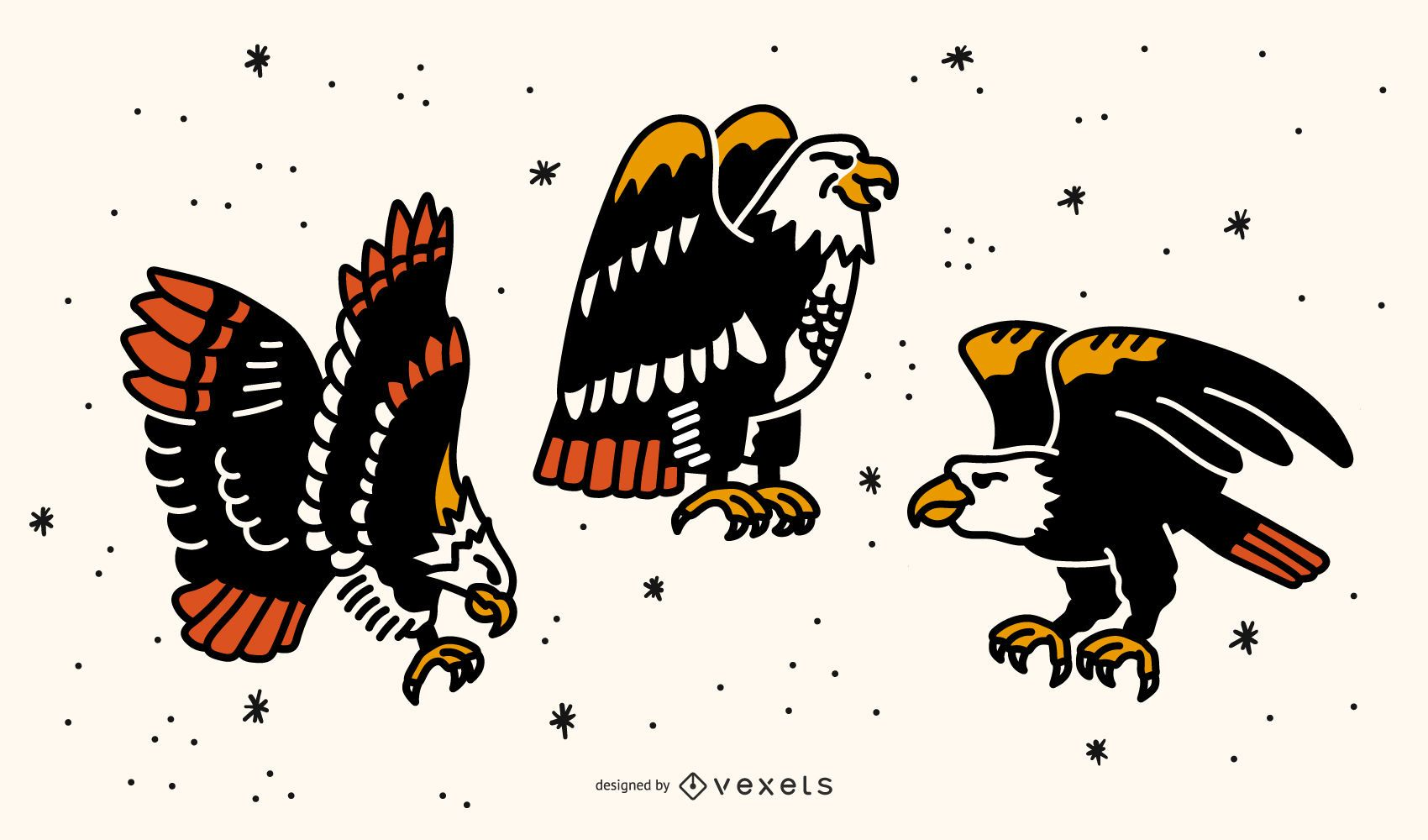 Eagle Old School Tattoo Design Set