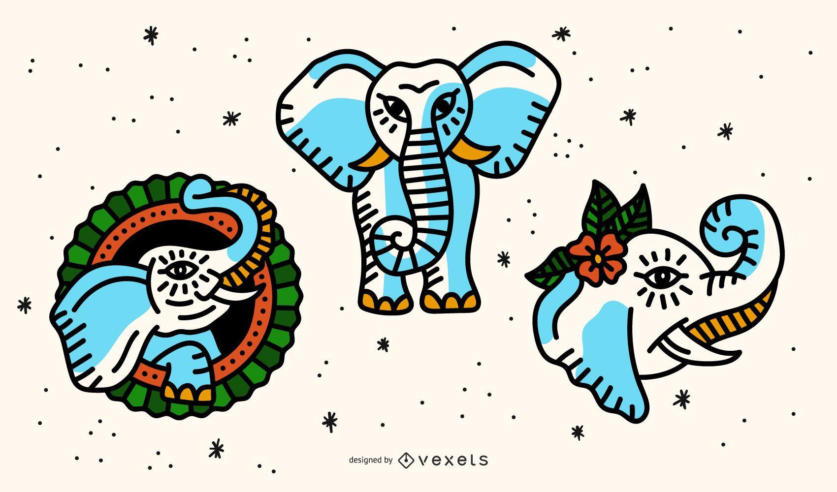 Paquete de diseño de tatuaje de elefante de la vieja escuela