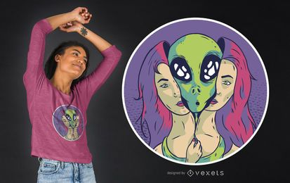 Alien Girl T-shirt Design