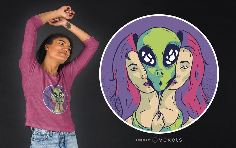 Alien Girl T-shirt Design