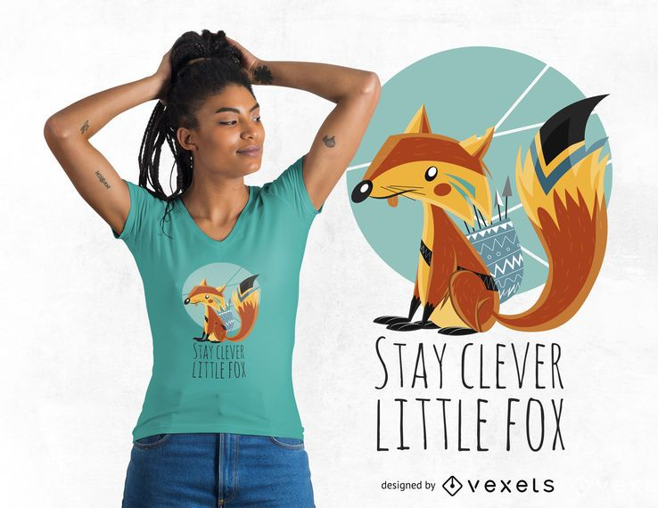 Fox ilustración de dibujos animados diseño de camiseta