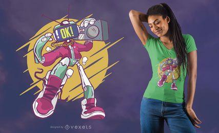 Projeto fresco do t-shirt de Boombox do robô